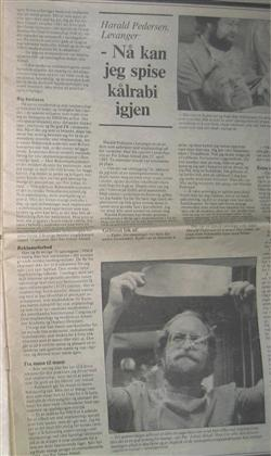 Artikkel fra Adressavisa i 1988 om hvordan tannimplantater gjorde det lettere for en person å spise fast føde.